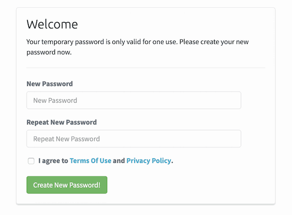 temporary password